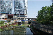 TQ3783 : View down the River Lea from the raised walkway leading to Three Mills Island by Robert Lamb