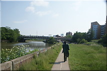 TQ3882 : View of the Twelvetrees Crescent bridge from the River Lea Navigation towpath by Robert Lamb