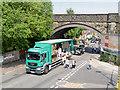 SD7807 : Radcliffe Carnival, Spring Lane Metrolink Bridge by David Dixon