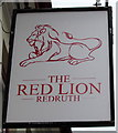 SW6942 : Red Lion name sign, Fore Street, Redruth by Jaggery