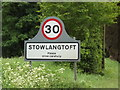TL9568 : Stowlangtoft Village Name sign by Adrian Cable