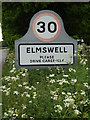 TL9863 : Elmswell Village Name sign on Church Road by Adrian Cable