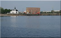 ST1974 : The Norwegian Church, Gloworks and the Outer Lock Crossing by Richard Sutcliffe