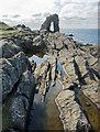 HT9541 : Gaada Stack behind the coastal rocks, Foula by Julian Paren