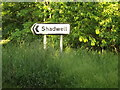 TL9382 : Roadsign on the A1066 Thetford Road by Adrian Cable