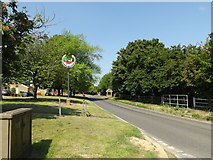 TM0848 : Main Road & Somersham Village sign by Adrian Cable
