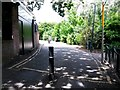 SZ0891 : Bournemouth: bollard on Exeter Lane by Chris Downer