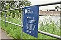 J3471 : Department for Social Development sign, River Lagan, Belfast (June 2016) by Albert Bridge