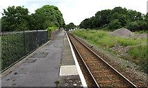 SS0699 : Manorbier railway station platform by Jaggery