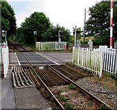 SS0699 : Railway side of Manorbier railway station level crossing by Jaggery