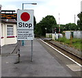 SS0699 : Stop sign on Manorbier railway station by Jaggery