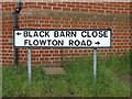 TM0948 : Black Barn Close & Flowton Road sign by Adrian Cable