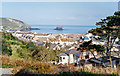 SW6545 : Portreath: harbour, beach and Gull Rock, 1995 by Ben Brooksbank