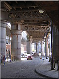 SJ8397 : Castlefields, Manchester: Duke Street, under the railway viaducts by Christopher Hilton