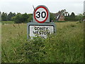 TL9577 : Coney Weston Village Name sign by Adrian Cable