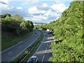 SJ8542 : A500 eastwards from road bridge by Jonathan Hutchins
