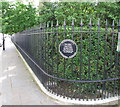 TQ2480 : Railings of Norland Square Garden by David Hawgood