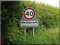 TL9685 : Bridgham Village Name sign on The Street by Adrian Cable