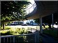 SZ0992 : Malmesbury Park: bottom of the footbridge spiral on footpath C21 by Chris Downer
