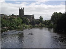 SO8454 : Worcester cathedral and the River Severn by Tim Glover