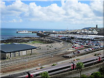 SW4730 : View Over Penzance Station to Harbour by Roy Hughes