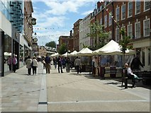 SO8554 : Market stalls on Worcester High Street by Philip Halling
