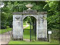 SO8744 : Gate piers, Croome Park by Philip Halling