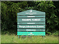 TL9483 : Thorpe Adventure Centre sign by Adrian Cable
