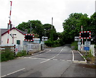SS0699 : South side of Manorbier railway station level crossing by Jaggery