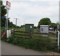 SS0699 : Electricity supply cabinets opposite Manorbier railway station by Jaggery