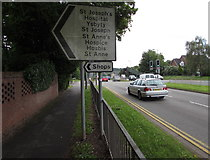 ST3091 : Hospital, hospice and shops direction signs, Malpas Road, Newport by Jaggery