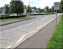ST3186 : Start of the 30mph speed limit, Docks Way, Newport by Jaggery