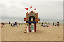 SY6879 : Weymouth beach Punch & Judy by Richard Croft