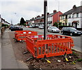 ST1680 : Temporary barriers on the Caerphilly Road pavement, Cardiff by Jaggery