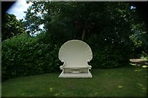 TQ1572 : View of a shell-shaped seat in the grounds of Strawberry Hill House by Robert Lamb