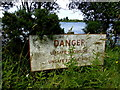 H4498 : Dangerous bathing sign, Moor Lough by Kenneth  Allen