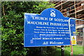 NS4927 : Mauchline Parish Church Sign by Billy McCrorie