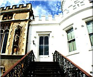 TQ1572 : Looking up the stairs to a door at the back of Strawberry Hill House by Robert Lamb