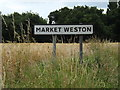 TL9978 : Market Weston Village Name sign on the B1111 Bury Road by Adrian Cable