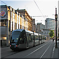 SK5739 : A tram approaching the Market Square by John Sutton