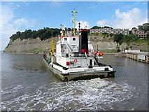 ST1972 : Dredger by Cardiff Bay Barrage by Gareth James