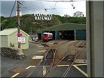 SC4077 : Passing the Douglas car shed, Manx Electric Railway by John Lucas