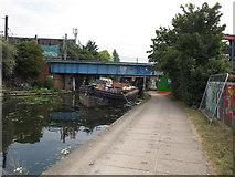 TQ2282 : Canal bridge maintenance using barge Ruby by David Hawgood