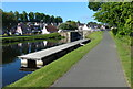 NS8780 : Pontoon along the Forth and Clyde Canal by Mat Fascione