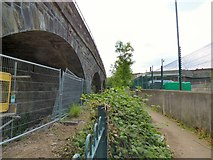 SJ9398 : Path between railway and canal by Gerald England