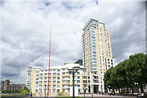 TQ3680 : View of Canary Riverside Plaza from the Thames Path by Robert Lamb