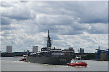 TQ3680 : View of Japanese battleship JDS Kashima (TV-3508) being towed past Canary Riverside by Robert Lamb
