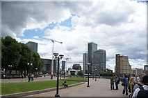 TQ3680 : View of buildings in Canary Wharf from Canary Riverside by Robert Lamb