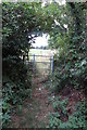 SP6728 : Gate on the footpath to the Gawcott road by Philip Jeffrey
