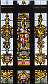 SK8932 : Stained glass detail, The Great Hall, Harlaxton Manor by Julian P Guffogg
